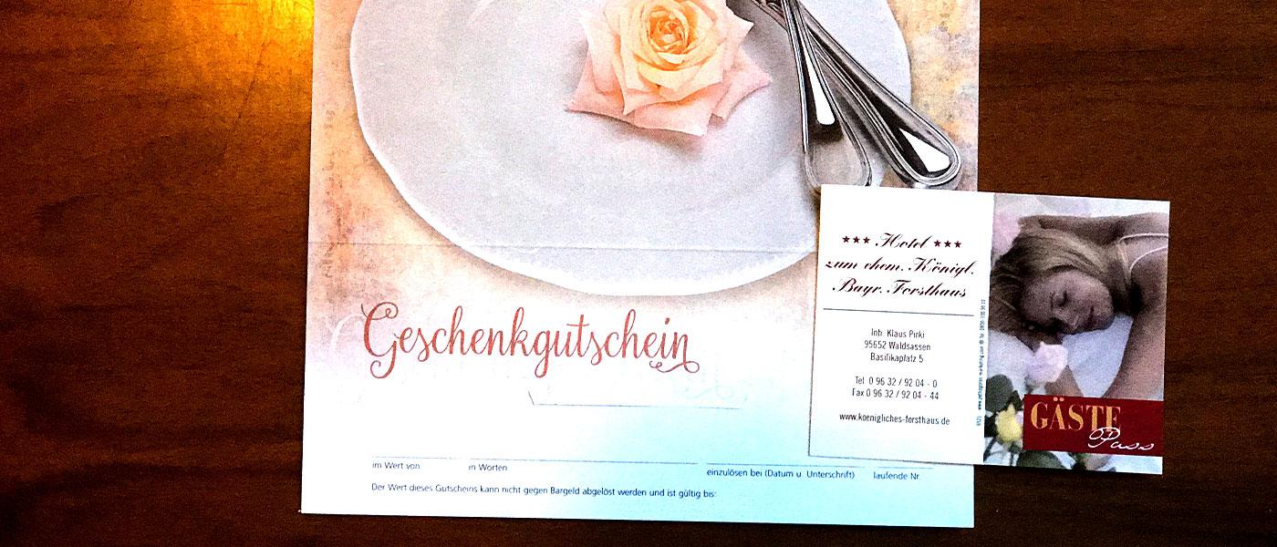 Hotel zum ehem. Königlich-Bayerischen Forsthaus Waldsassen Bonuskarte Bonus Gutschein